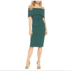 Vince Camuto Emerald Off-shoulder Dress